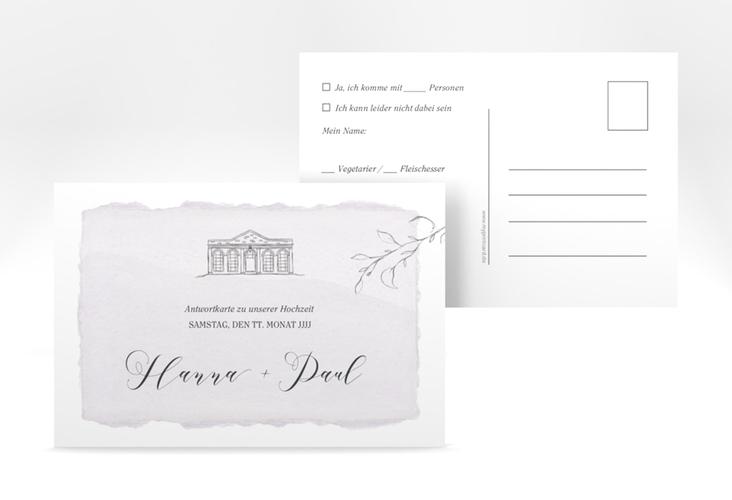 """Antwortkarte Hochzeit """"Villa"""" A6 Postkarte flieder"""
