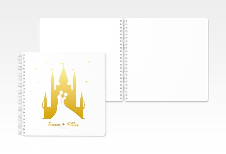 "Gästebuch Hochzeit ""Castle"" Ringbindung gold"