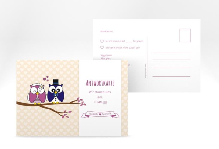 """Antwortkarte Hochzeit """"Eulenliebe"""" A6 Postkarte"""