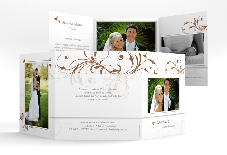 "Dankeskarte Hochzeit ""Palma"" Quadr. Karte doppelt"
