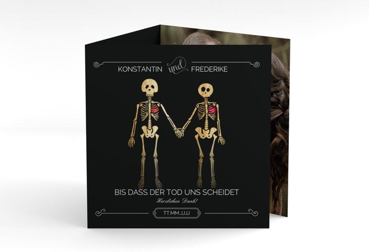 """Dankeskarte Hochzeit """"Bones"""" Quadr. Karte doppelt"""