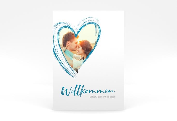 """Willkommensschild Poster """"Liebe"""" 50 x 70 cm Poster tuerkis"""