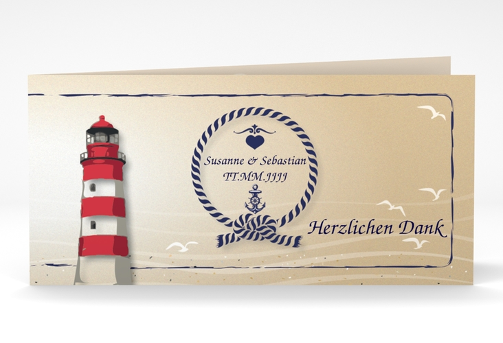 "Danksagungskarte Hochzeit ""Sylt"" DIN lang Klappkarte braun"