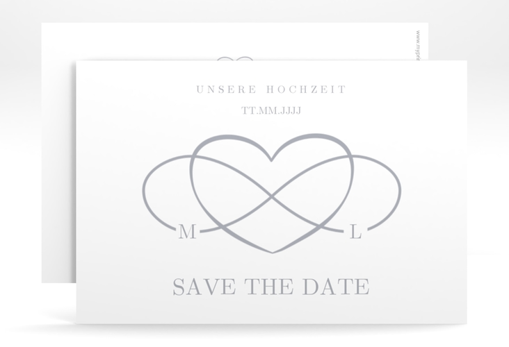 "Save the Date-Karte ""Infinity"" A6 quer grau"