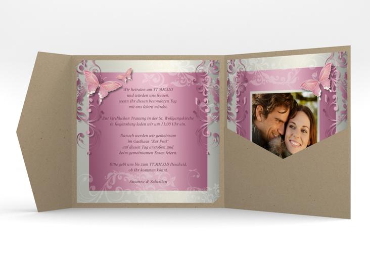 "Hochzeitseinladung ""Toulouse"" Pocketfold rosa"