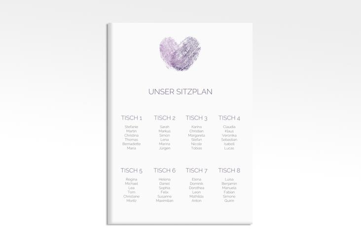"Sitzplan Leinwand Hochzeit ""Fingerprint"" 50 x 70 cm Leinwand lila"