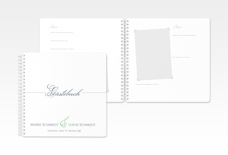 "Gästebuch Hochzeit ""Pure"" Ringbindung gruen"