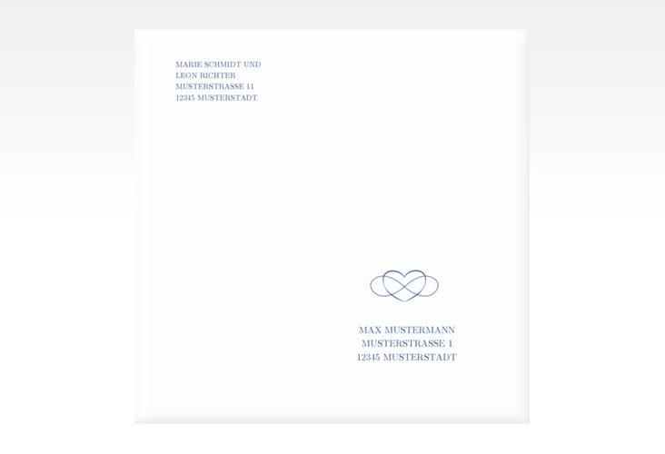 """Kuvert quadratisch """"Infinity"""" Quadratisch blau"""