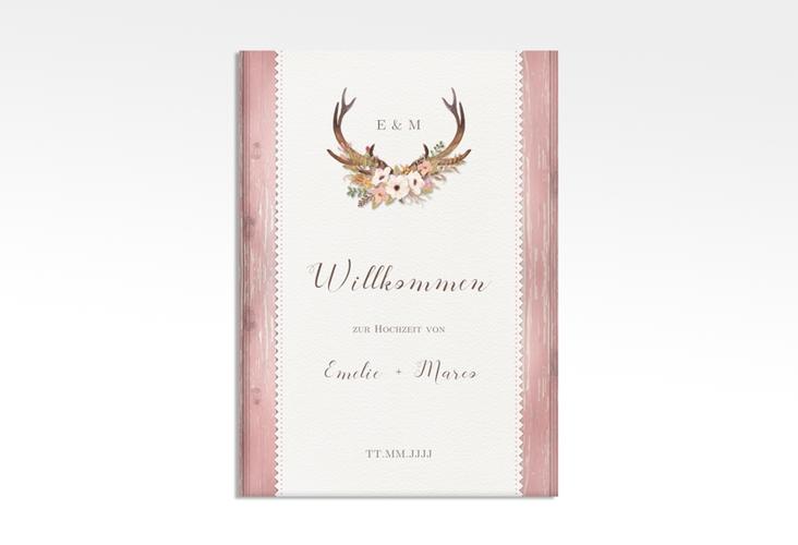 "Willkommensschild Leinwand ""Heimatjuwel"" 50 x 70 cm Leinwand rosa"