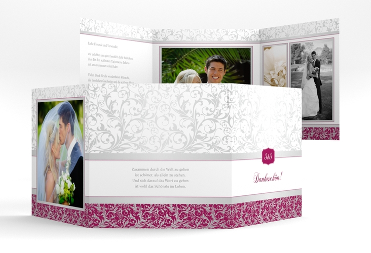 "Dankeskarte Hochzeit ""Latina"" Quadr. Karte doppelt pink"