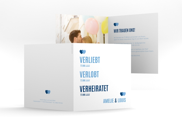 """Hochzeitseinladung """"Couple"""" Quadratische Klappkarte blau"""