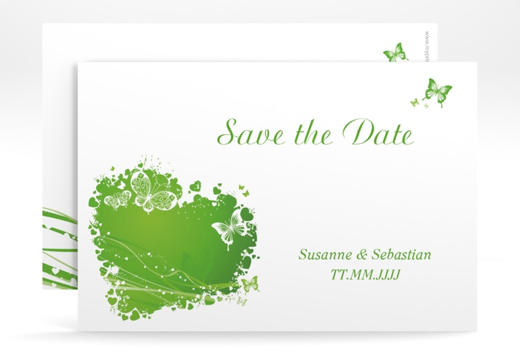 """Save the Date-Karte Hochzeit """"Mailand"""" A6 quer gruen"""