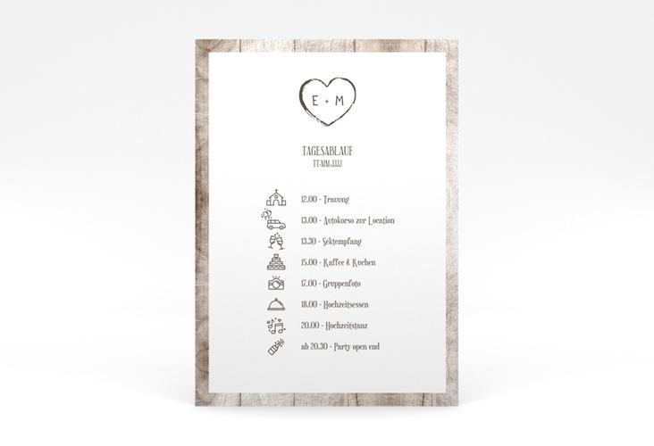 """Tagesablauf Poster Hochzeit """"Wood"""" 50 x 70 cm Poster weiss"""