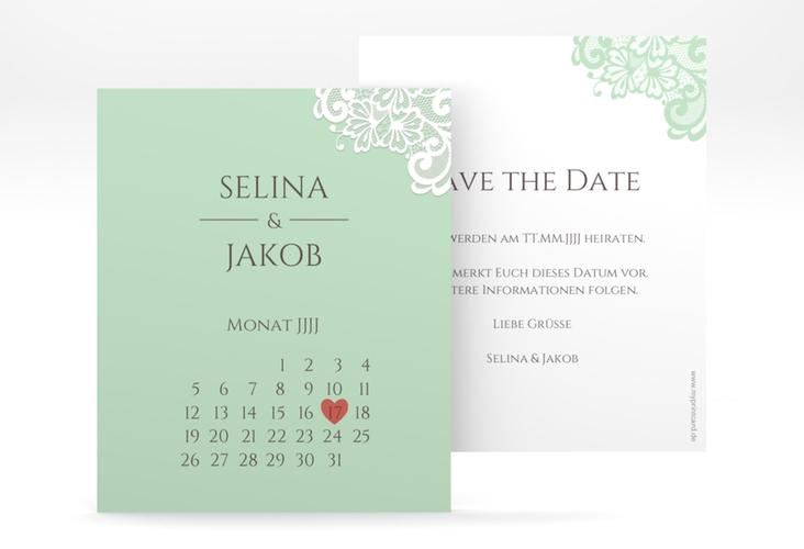 """Save the Date-Kalenderblatt """"Vintage"""" Kalenderblatt-Karte mint"""