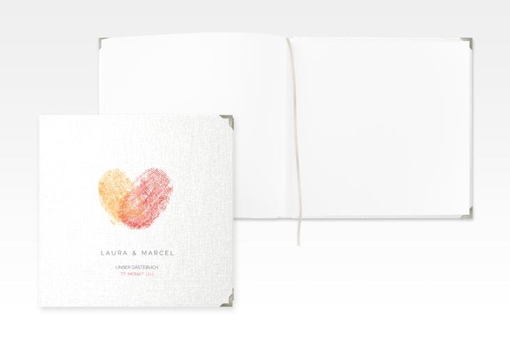 """Gästebuch Selection Hochzeit """"Fingerprint"""" Leinen-Hardcover rot"""