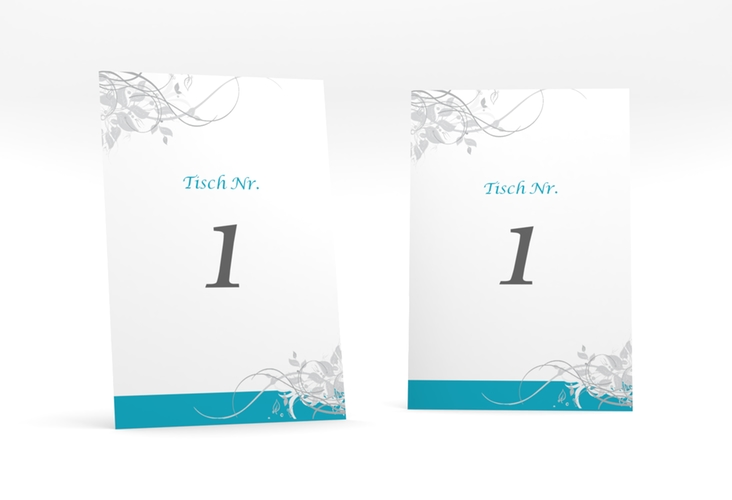 """Tischnummer Hochzeit """"Florenz"""" Tischaufsteller tuerkis"""