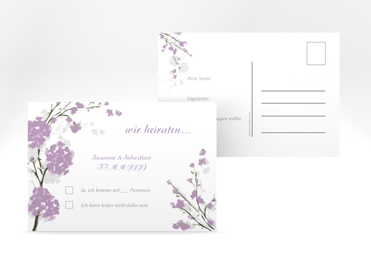 """Antwortkarte Hochzeit """"Salerno"""" A6 Postkarte flieder"""