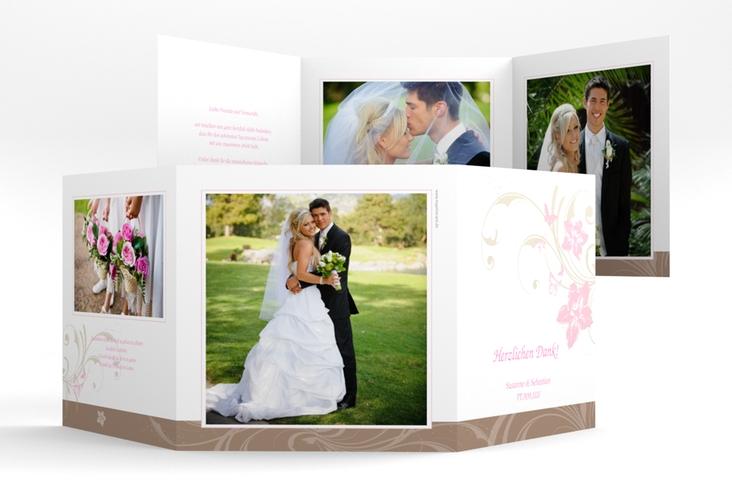 "Danksagungskarte Hochzeit ""Parma"" Quadr. Karte doppelt rosa"