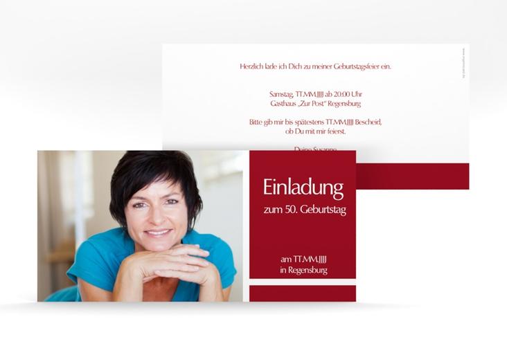 "Einladungskarte ""Gerd/Gerda"" DIN lang rot"
