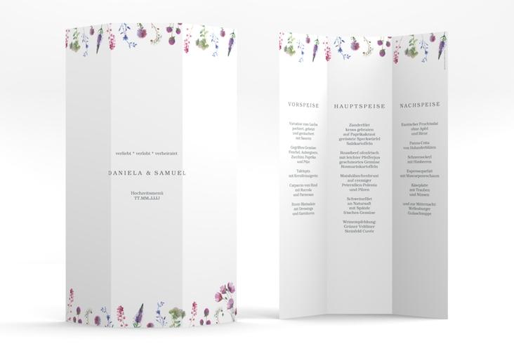 """Menükarte Hochzeit """"Wildblumen"""" DIN A4 Wickelfalz"""