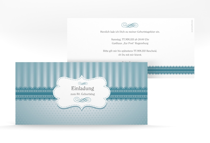 """Einladungskarte """"Heinrich/Henriette"""" DIN lang blau"""