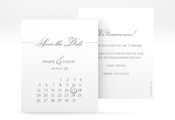 "Save the Date-Kalenderblatt ""Pure"" Kalenderblatt-Karte grau"