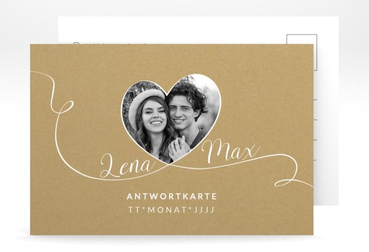"""Antwortkarte Hochzeit """"Herzensbund"""" A6 Postkarte weiss"""
