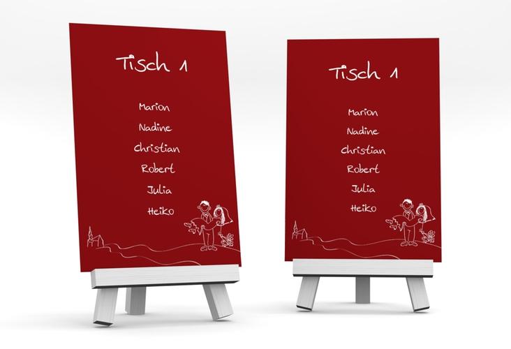 """Tischaufsteller Hochzeit """"Pisa"""" Tischaufsteller rot"""