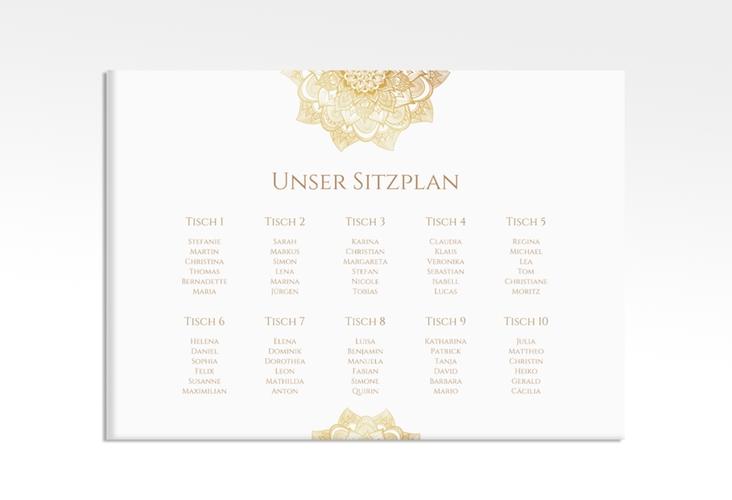 "Sitzplan Leinwand Hochzeit ""Delight"" 70 x 50 cm Leinwand gold"