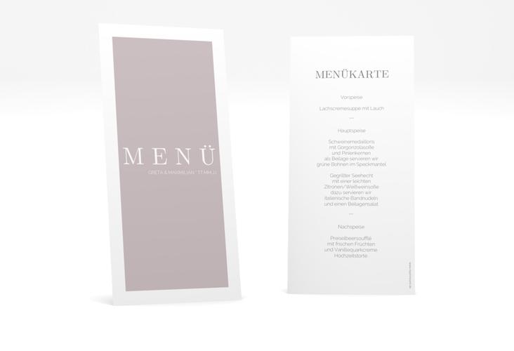 "Menükarte Hochzeit ""Simply"" DIN lang hoch grau"