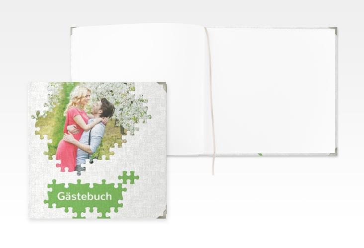 """Gästebuch Selection Hochzeit """"Puzzle"""" Leinen-Hardcover gruen"""