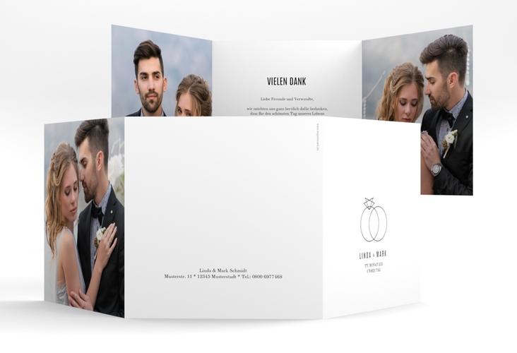 """Danksagungskarte Hochzeit """"Rings"""" Quadr. Karte doppelt weiss"""