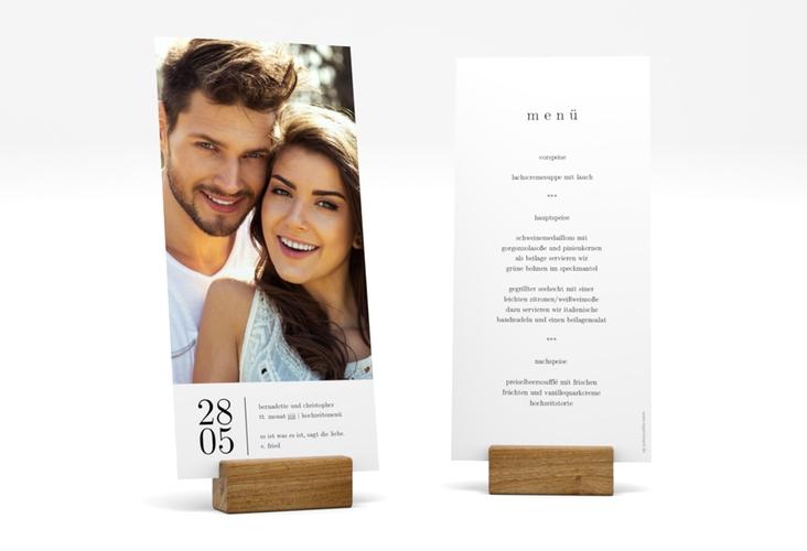 "Menükarte Hochzeit ""Minimal"" DIN lang hoch weiss"