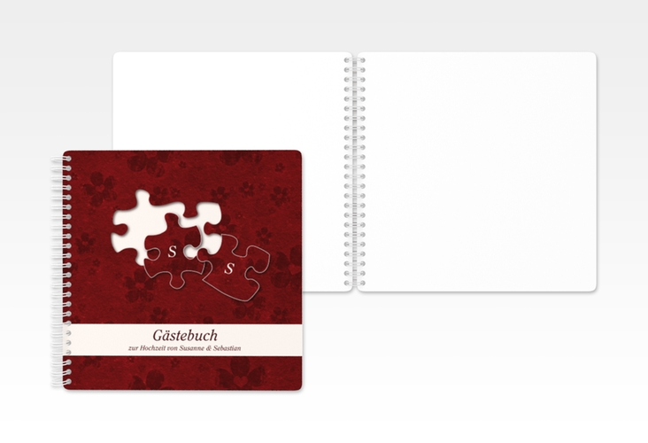 "Gästebuch Hochzeit ""Ravensburg"" Ringbindung rot"