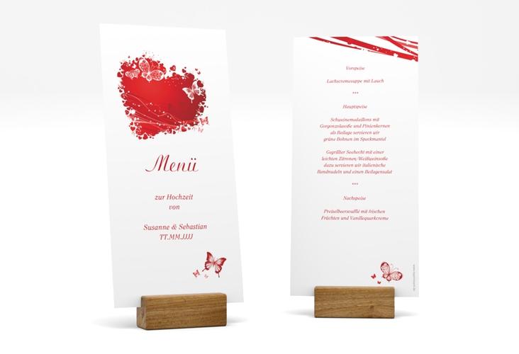 "Menükarte Hochzeit ""Mailand"" DIN lang hoch rot"