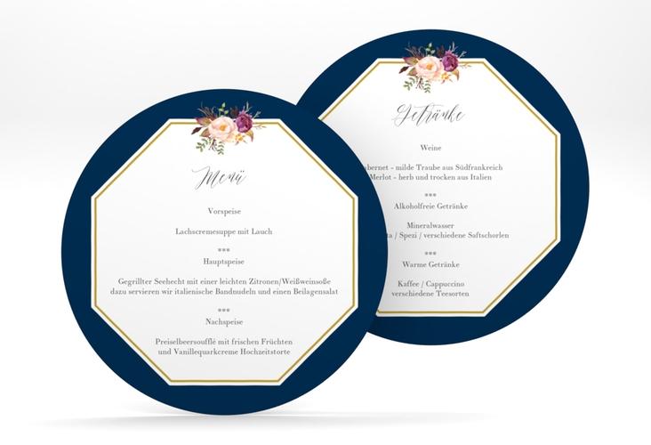 """Menükarte Hochzeit """"Prachtvoll"""" rund blau"""