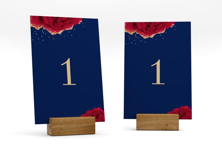 """Tischnummer Hochzeit """"Cherie"""" Tischaufsteller blau"""