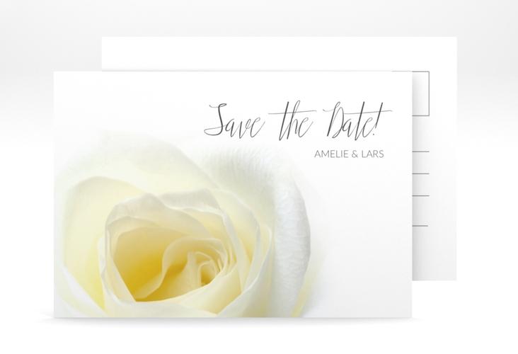 "Save the Date-Postkarte ""Rose"" A6 Postkarte weiss"