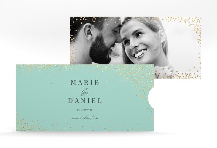 """Hochzeitseinladung """"Glitter"""" Einsteckkarte mint"""