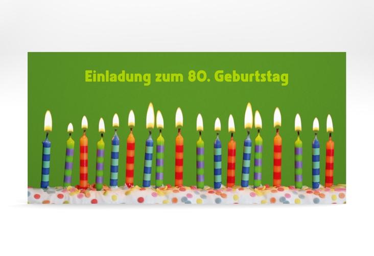 """Einladungskarte """"Candles"""" DIN lang gruen"""