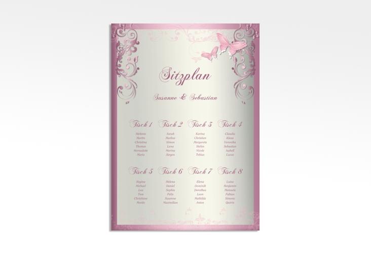 """Sitzplan Leinwand Hochzeit """"Toulouse"""" 50 x 70 cm Leinwand rosa"""