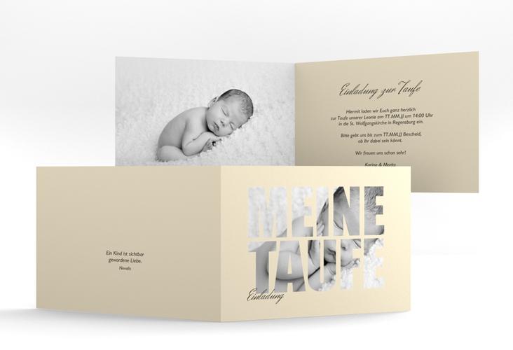 """Einladungskarte Taufe """"Blessing"""" A6 Klappkarte Quer beige"""