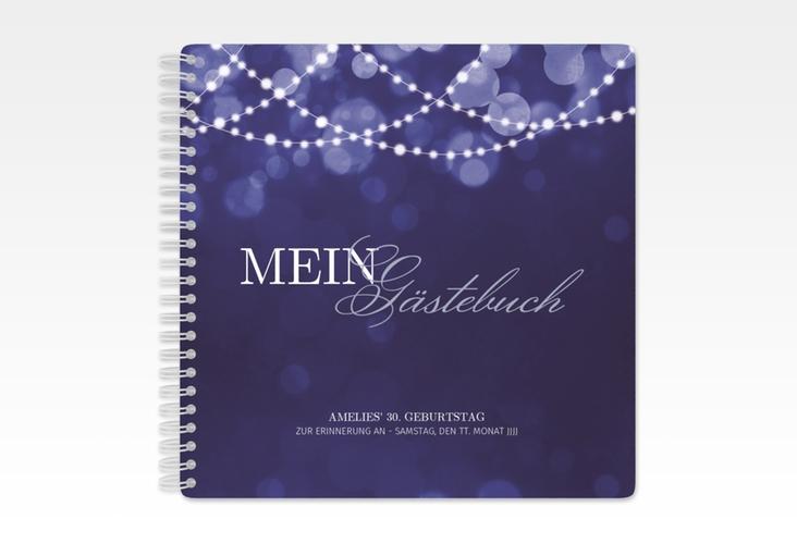 "Gästebuch Geburtstag ""Girlande"" Ringbindung blau"