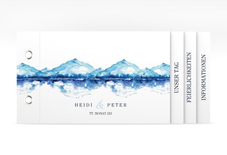 """Hochzeitseinladung """"Bergliebe"""" Booklet blau"""