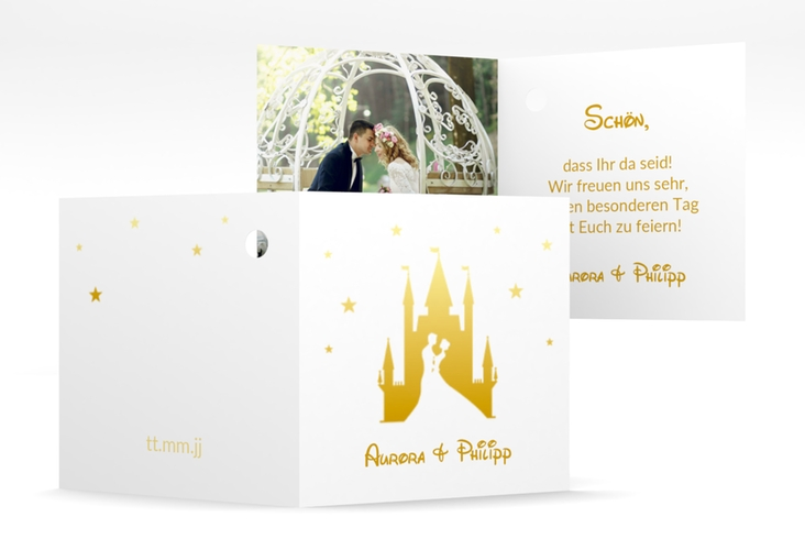 "Geschenkanhänger Hochzeit ""Castle"" Geschenkanhänger 10er Set gold"