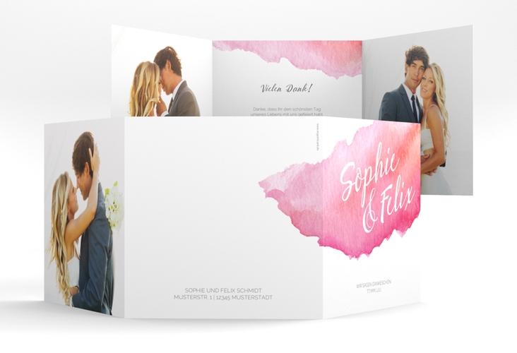 "Dankeskarte Hochzeit ""Aquarella"" Quadr. Karte doppelt"