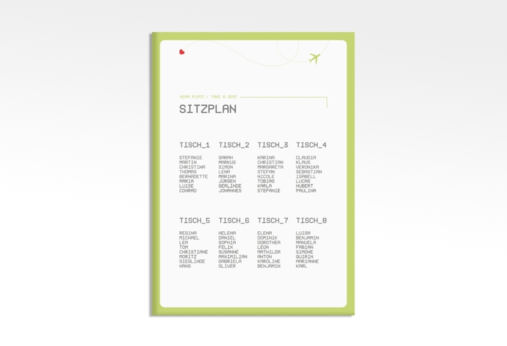 "Sitzplan Leinwand Hochzeit ""Weddingpass"" 50 x 70 cm Leinwand gruen"