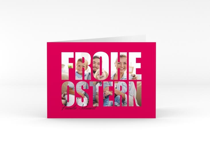 """Osterkarte """"Osterzeit"""" A6 Klappkarte Quer pink"""