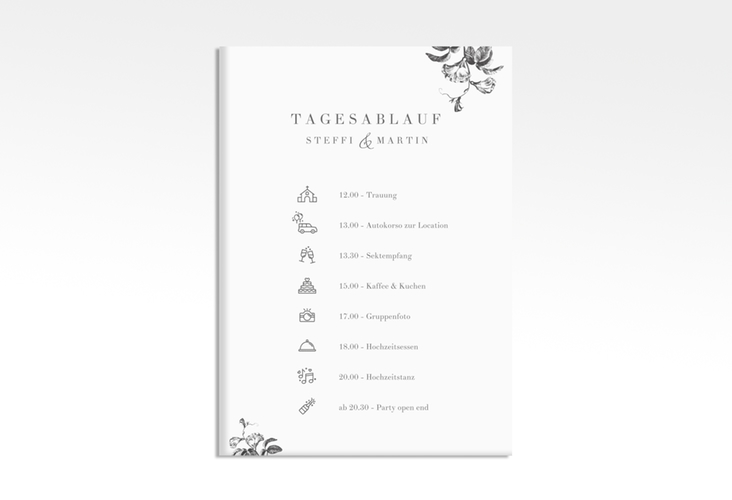 """Tagesablauf Leinwand Hochzeit """"Magnificent"""" 50 x 70 cm Leinwand"""