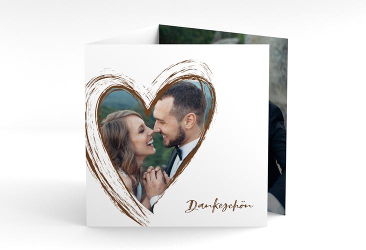 """Dankeskarte Hochzeit """"Liebe"""" Quadr. Karte doppelt braun"""